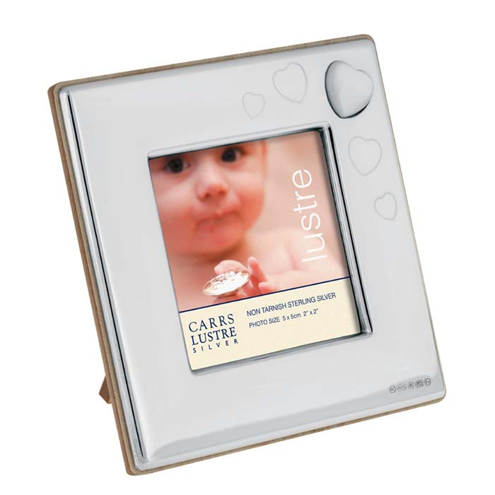 Sterling Silver Babys Mother Of Pearl Heart 5x5 Cm Photo Frame With Wood Back