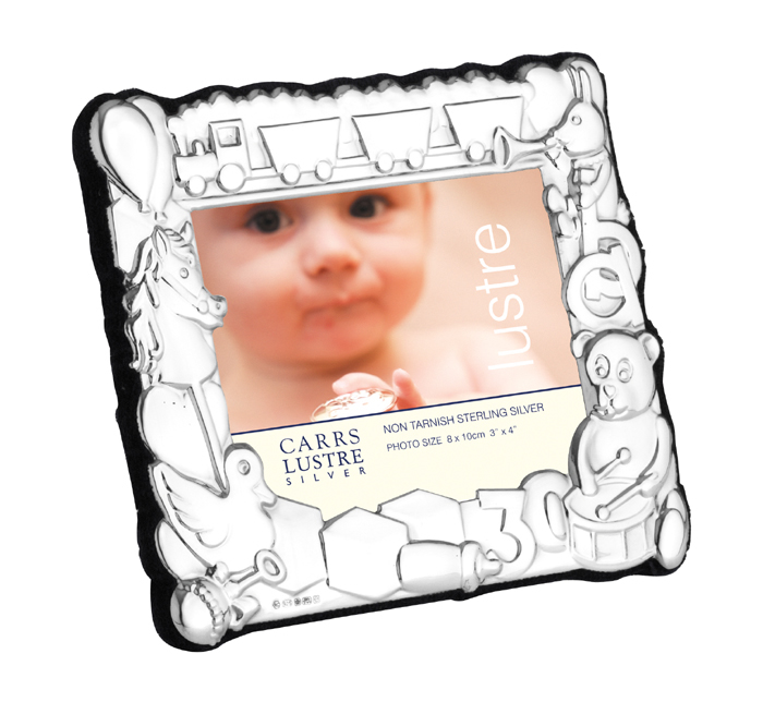 Sterling Silver 8x10 Cm Landscape Babys Photo Frame With Velvet Back