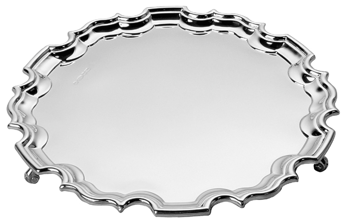 Sterling Silver Chippendale Mounted Salver 25cm 10 Inch