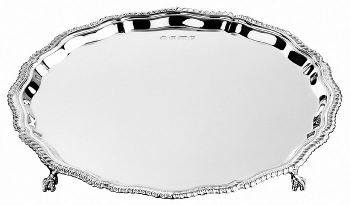 Sterling Silver Gadroon Salver 25cm 10 Inch