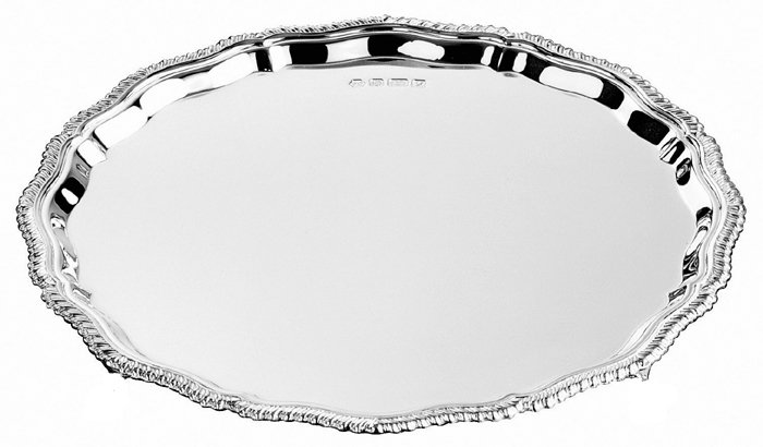Sterling Silver Gadroon Waiter 15cm 6 Inch