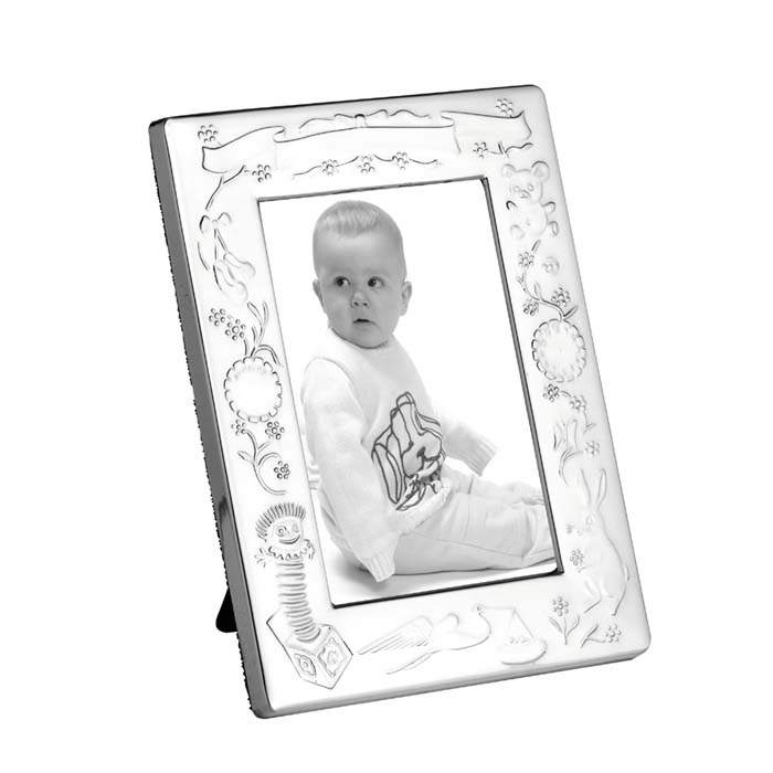 Silver Plated 13x9 Cm Christening Photo Frame With Velvet Back