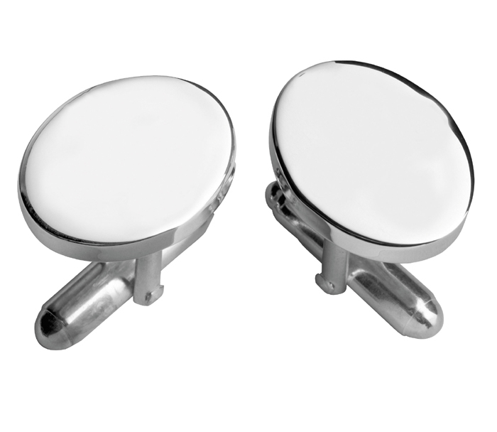 Silver Plated Oval With Post Cufflinks