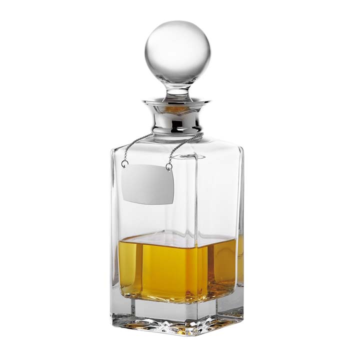 Silver Plated Spirit Decanter Plain Crystal 65cl