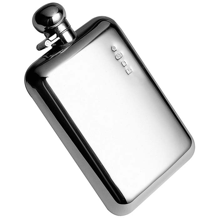 Sterling Silver Hip Flask 17cl Bayonet Captive Top