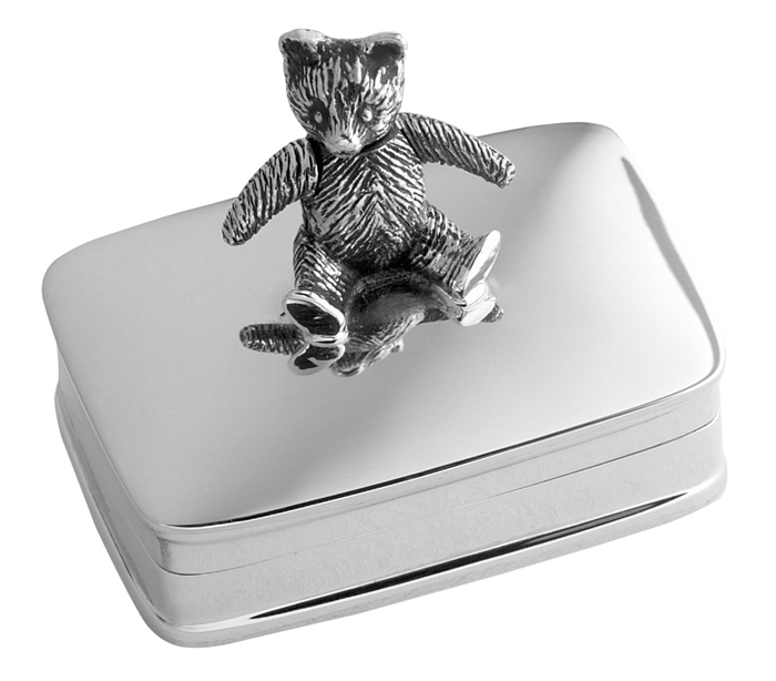 Sterling Silver Moveable Teddy Box