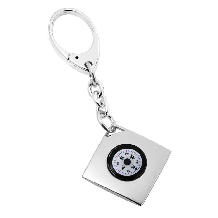 Silver Plated Compass Keyring