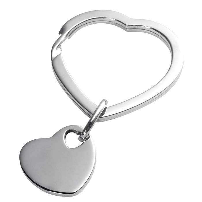 Sterling Silver Heart Key Tag With Heart Split Ring