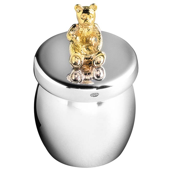 Sterling Silver Bear Honey Jar Keepsake
