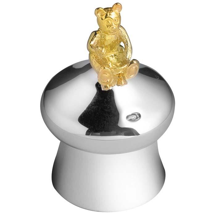 Sterling Silver Bear Mushroom Keepsake Box