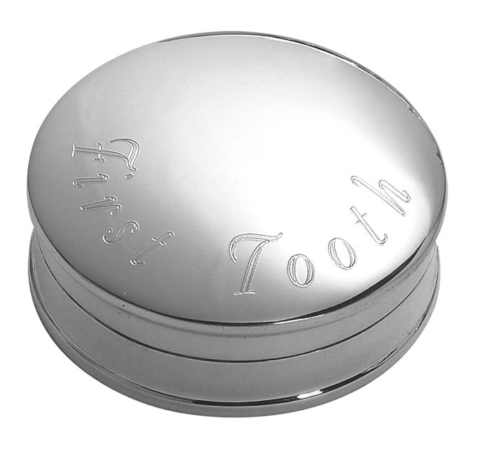 Silver Plated Round First Tooth Box