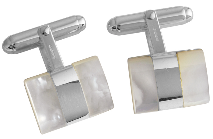Sterling Silver Mother Of Pearl 2 Stripe Cufflinks