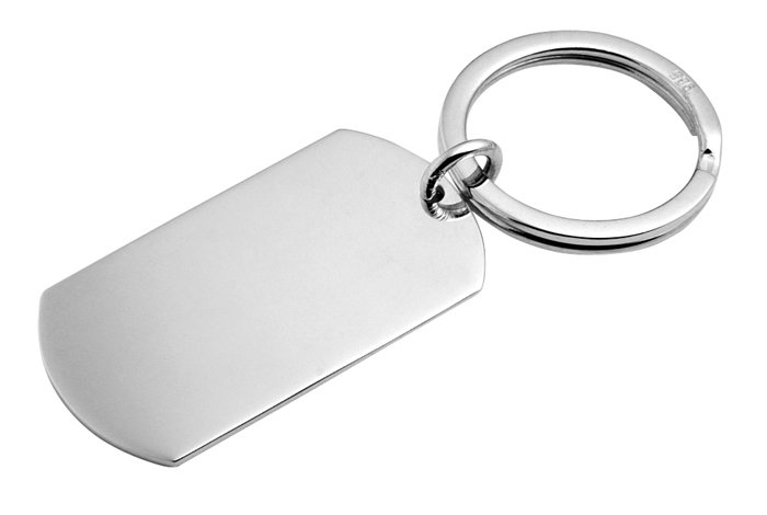 Sterling Silver Dog Tag Style Keyring