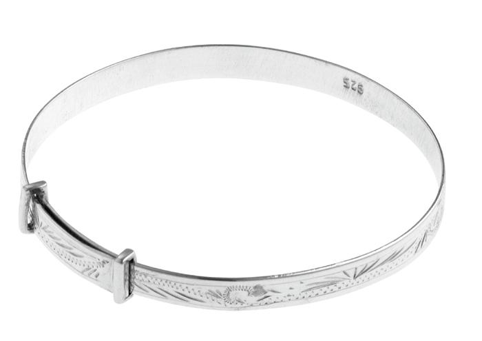 Sterling Silver Hand Engraved Adjustable Baby Bangle