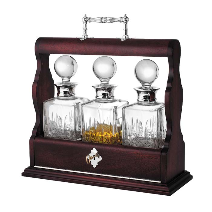 Mahogany Triple Tantalus Decanter