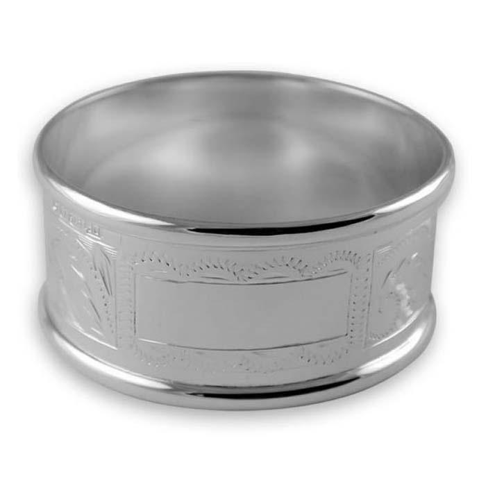 sterling silver hand engraved napkin ring. Black Bedroom Furniture Sets. Home Design Ideas