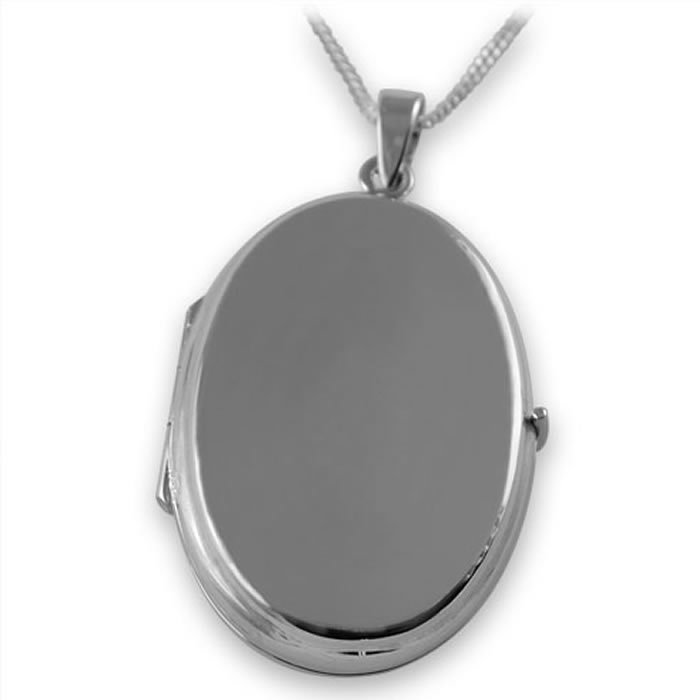 Sterling silver locket pendants silvergroves sterling silver plain oval locket style necklace aloadofball Image collections