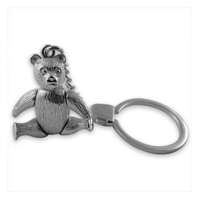 Sterling Silver Movable Teddy Bear Keyring