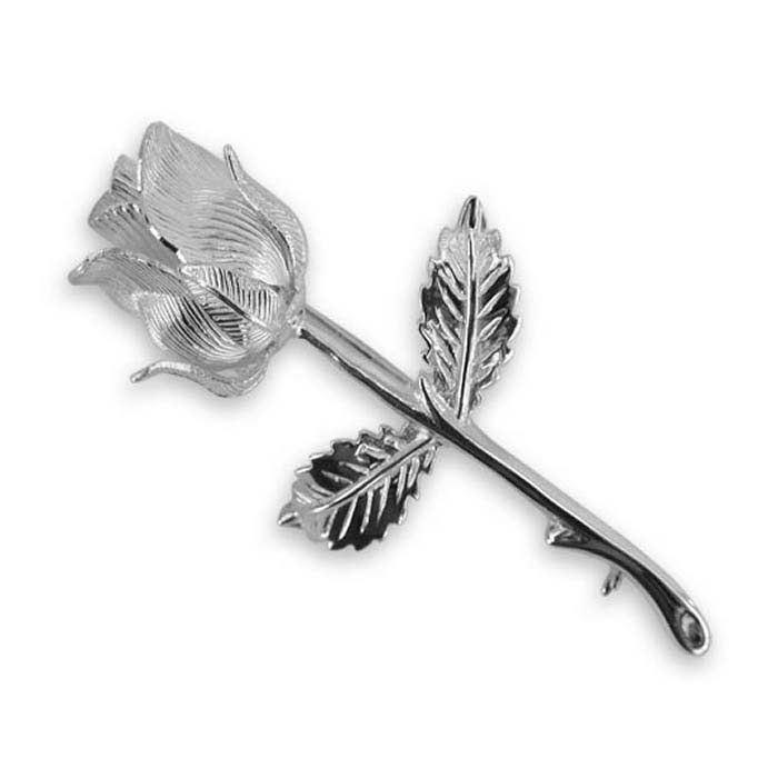 Plated Sterling Silver Rose Brooch