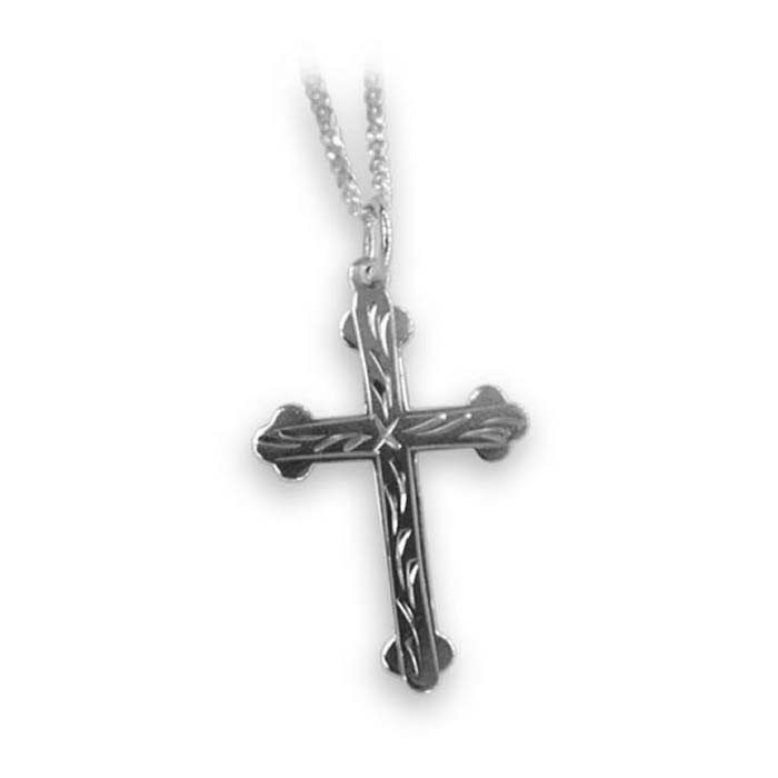 Sterling silver engraved cross necklace aloadofball Images