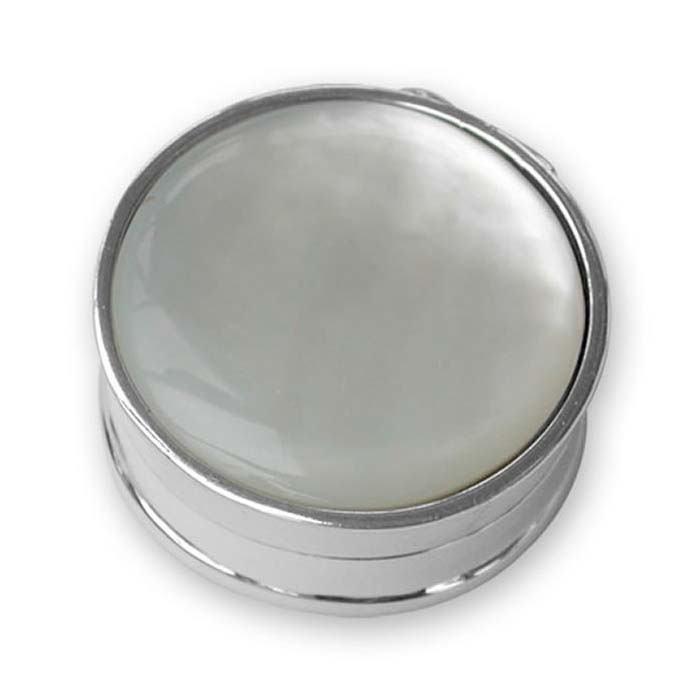 Plated Sterling Silver Round Mother Of Pearl Pill Box