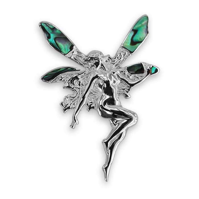 Sterling Silver Oyster Shell Fairy Brooch
