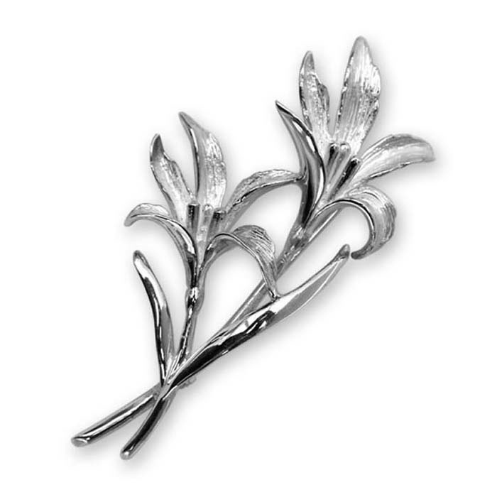 Sterling Silver Double Lily Brooch