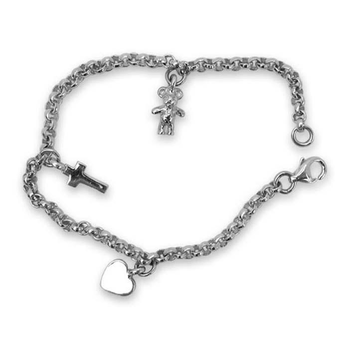Sterling Silver Tedy Bear Charm Bracelet