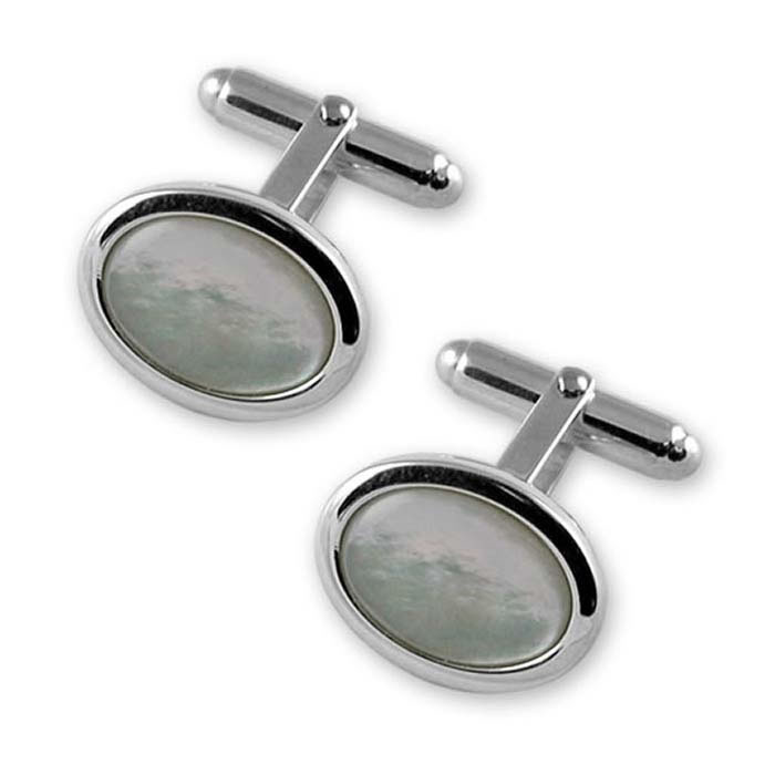 Plated Sterling Silver Mother Of Pearl Oval Cufflinks