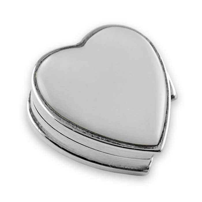 Sterling Silver Small Heart Mother Of Pearl Pill Box