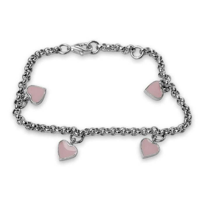 Plated Sterling Silver Pink Hearts Charm Bracelet
