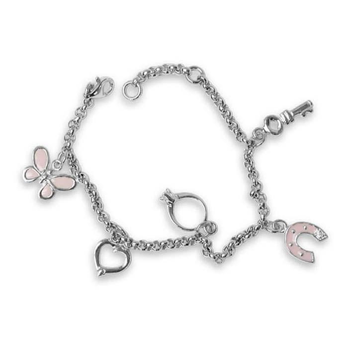 Sterling Silver Horse Shoe Charm Bracelet