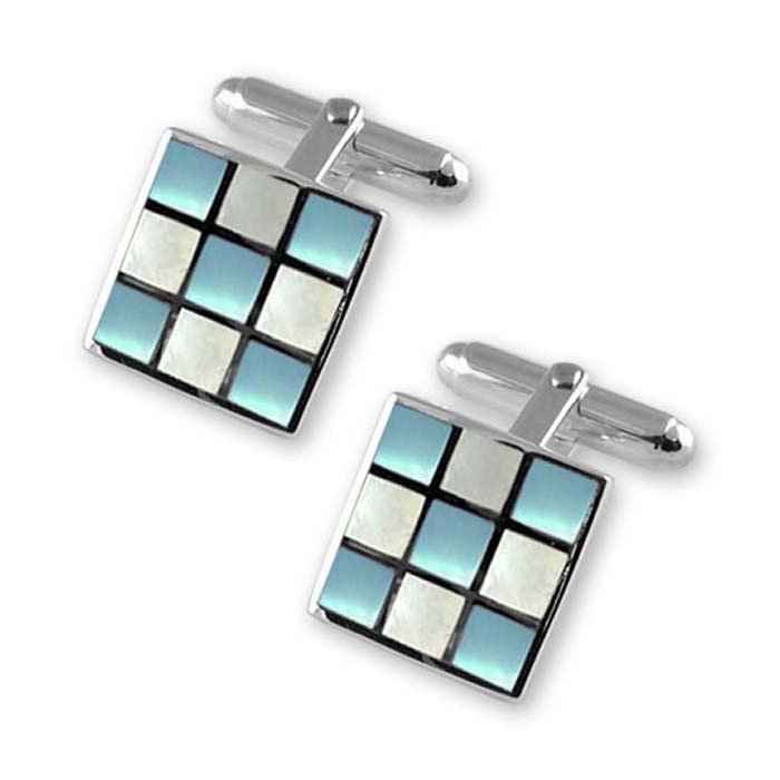 Sterling Silver Blue And White Mop Square Cufflinks