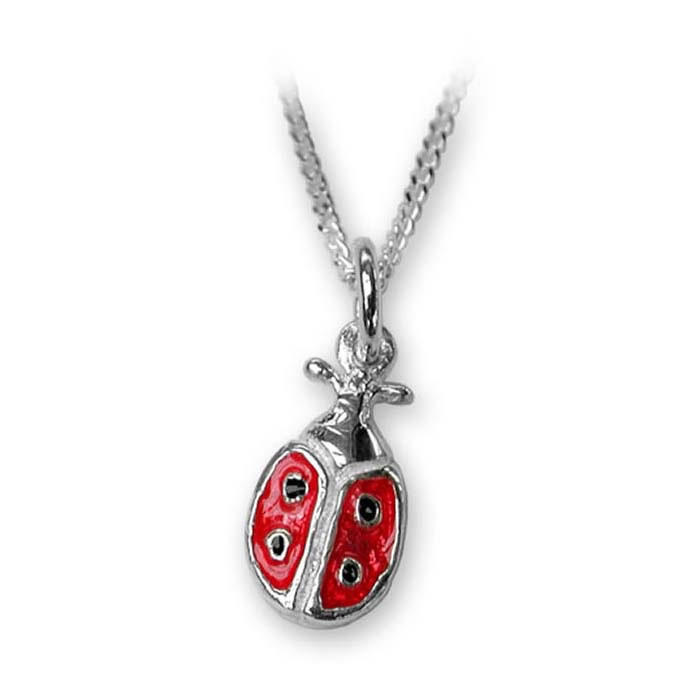 Sterling Silver Enamelled Ladybird Necklace
