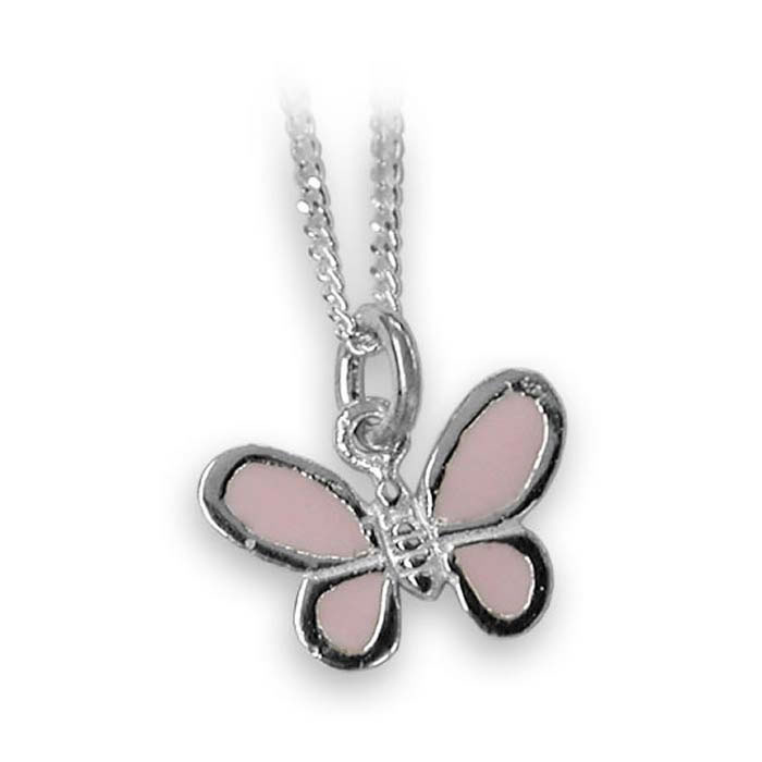 Sterling Silver Pink Enamelled Butterfly Necklace