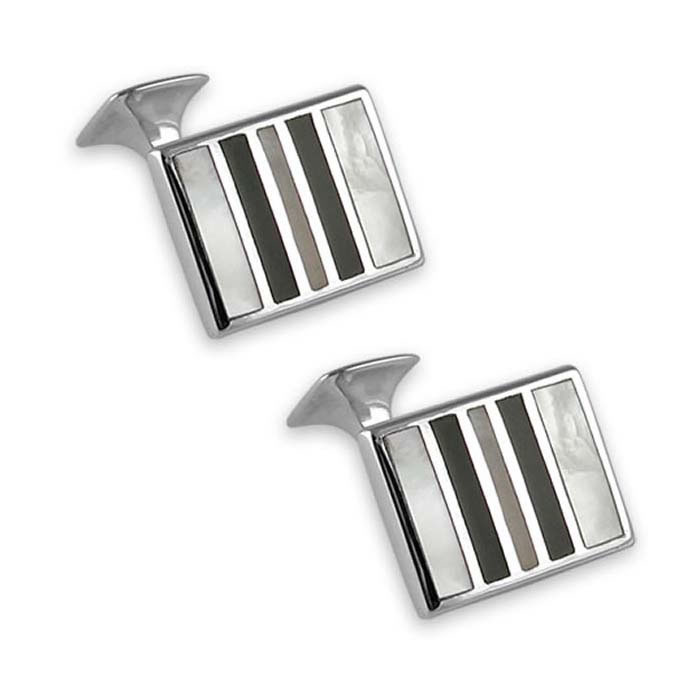 Sterling Silver Mother Of Pearl And Onyx Stripe Rectangle Cufflinks