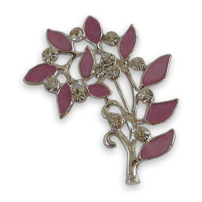 Sterling Silver Enamelled Leaves Brooch