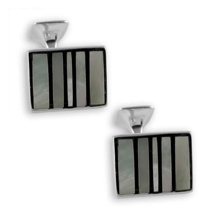 Sterling Silver Mother Of Pearl Stripe Rectangle Cufflinks
