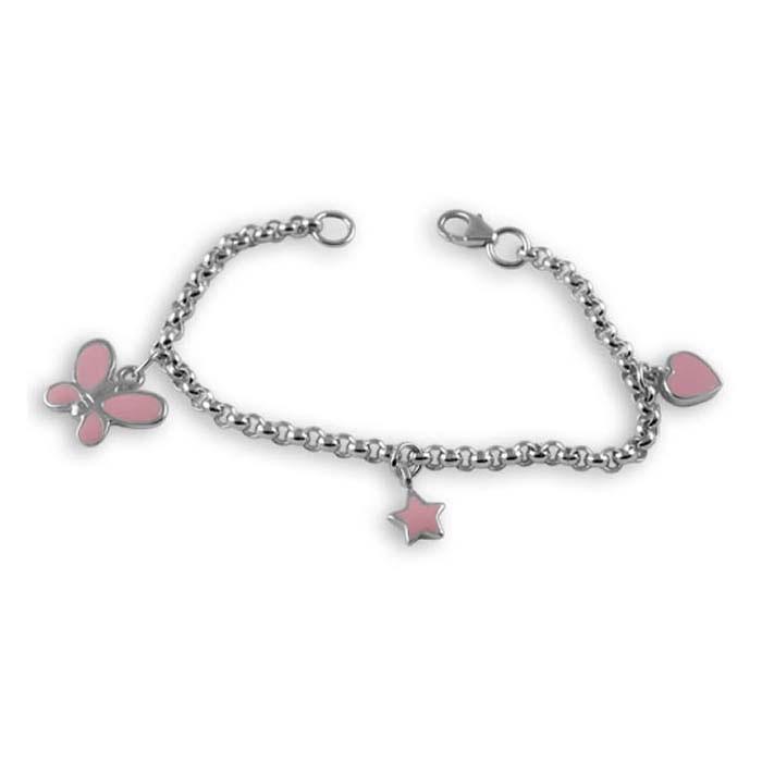 Sterling Silver Butterfly Charm Chain Bracelet