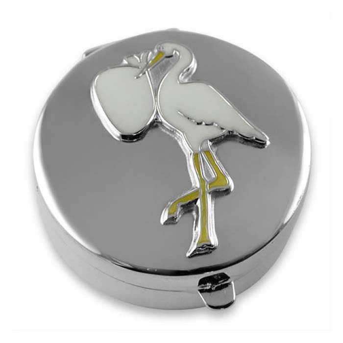 Sterling Silver Enamel Stork Shaped Box
