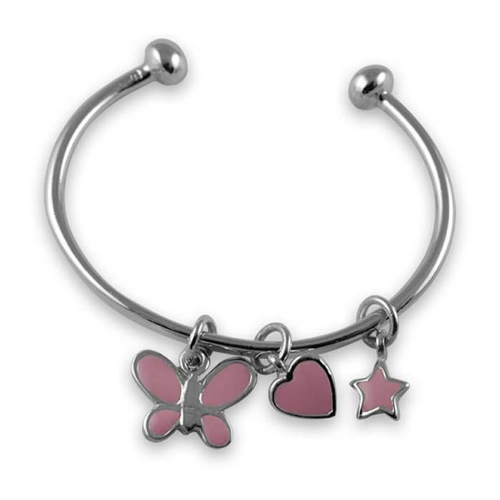 Plated Sterling Silver Charm Torque Bangle
