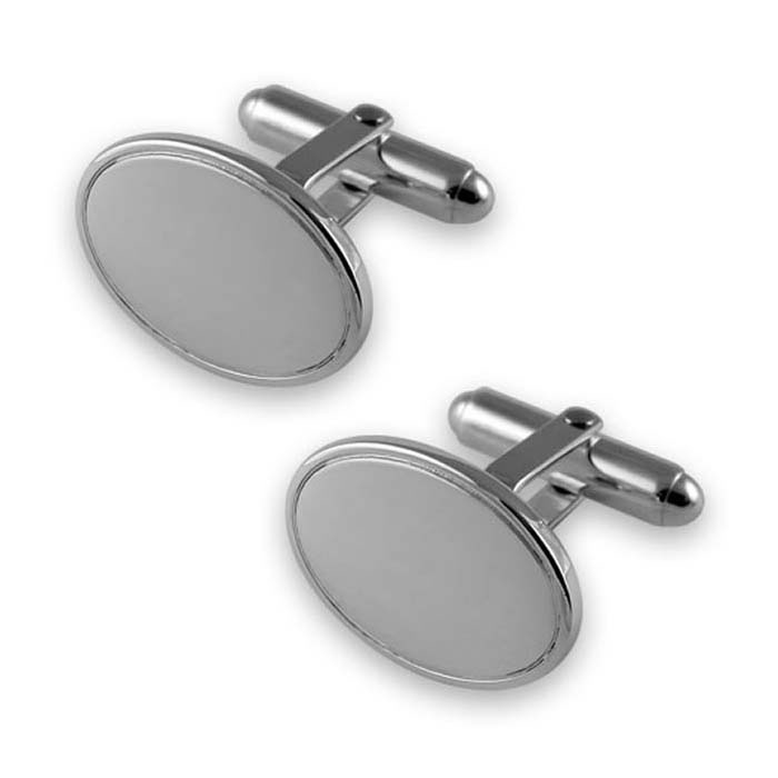 Plated Sterling Silver Oval With Line Cufflinks