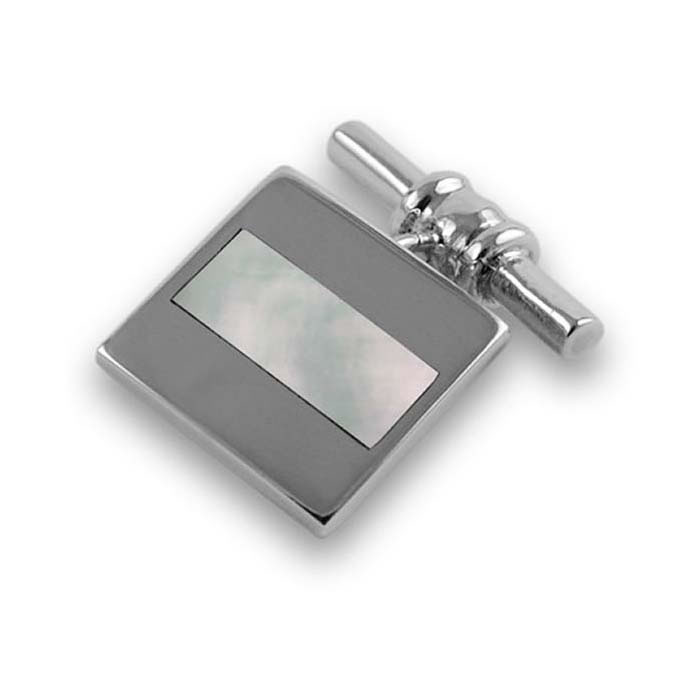 Sterling Silver Bold Stripe Mother Of Pearl Cufflinks