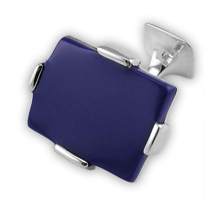 Sterling Silver Rectangular Lapis Cufflinks