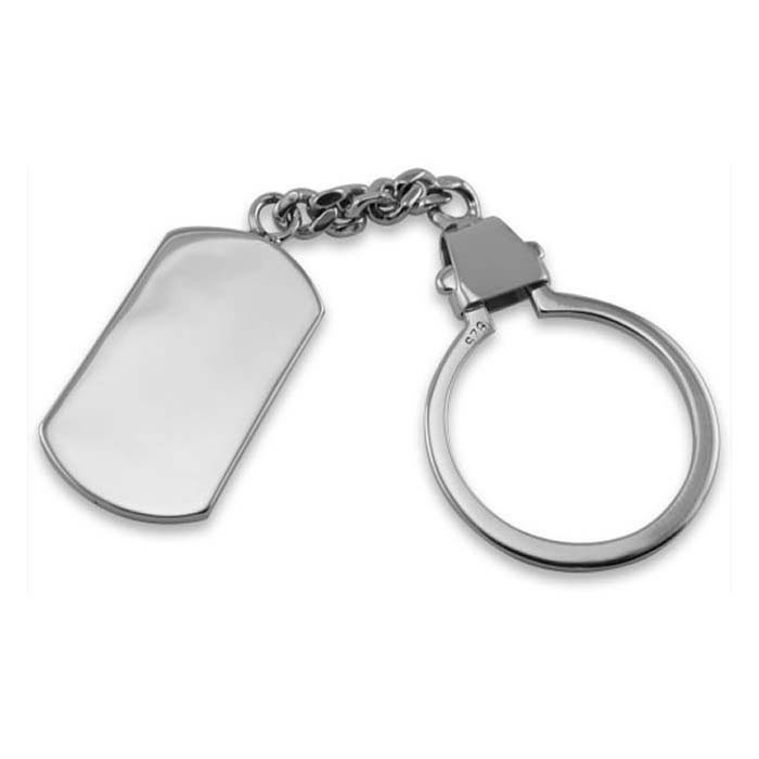 Sterling Silver Dog Tag Keyring And Chain