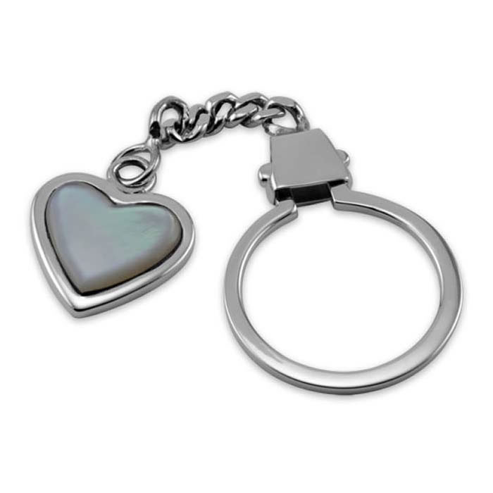 Mother Of Pearl Heart Keyring