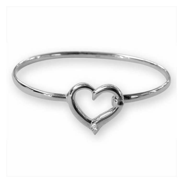 Sterling Silver Cubic Zirconia Heart Bangle