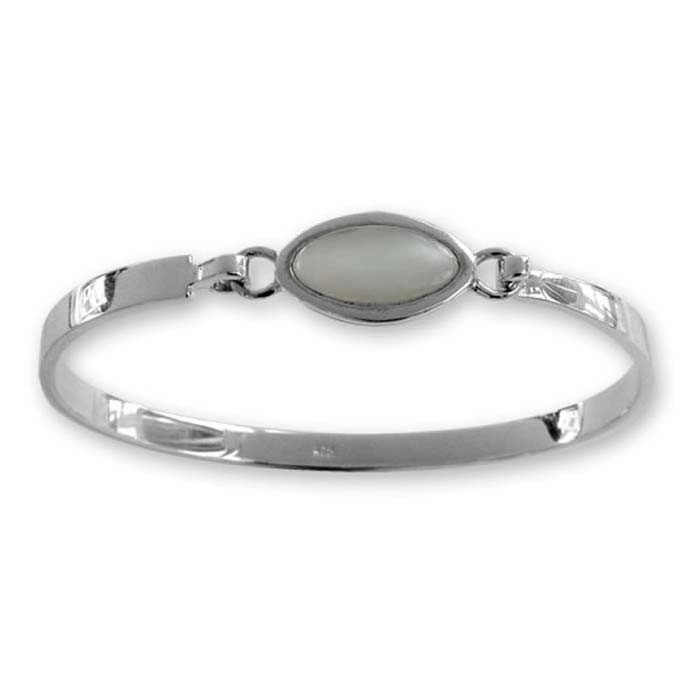 Sterling Silver Oval Mother Of Pearl Bangle