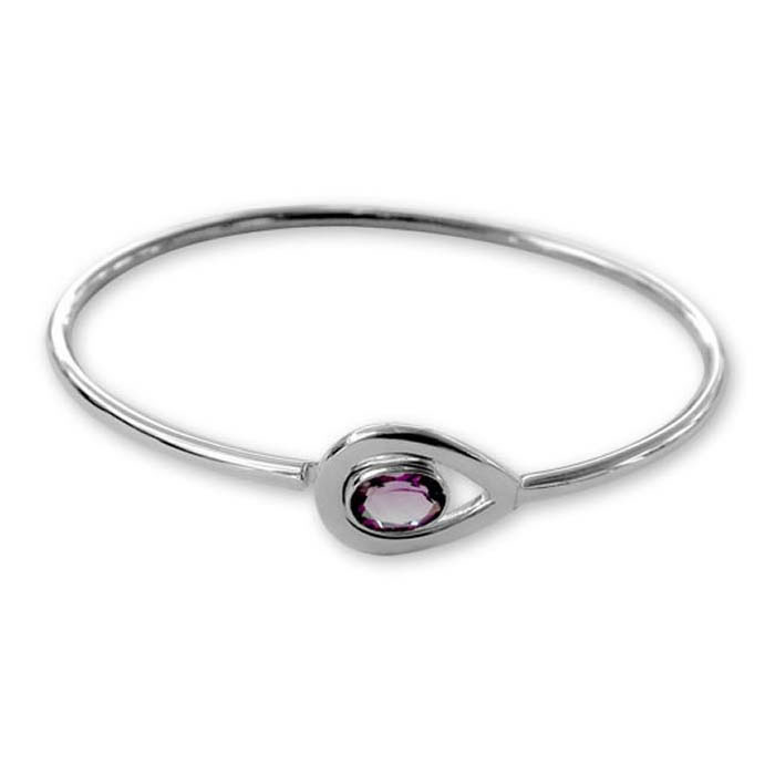 Plated Sterling Silver Amethyst Bangle