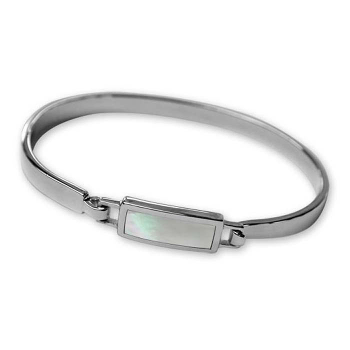 Sterling Silver Rectangular Mother Of Pearl Bangle